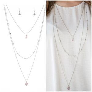 CITY BLOCK BUSTER PINK NECKLACE/EARRING SET